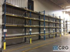 Lot of teardrop style pallet racking including (10) 18 foot uprights 42 inches deep 3 X 3 inch, (48)