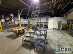 Lot of (3) assorted stock ladders including (1) 10- step, (1) 7- step (near annealing area, (1) 4-