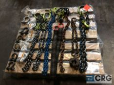Lot of assorted lifting equipment, including (3) assorted single leg lifting chain slings, (1)