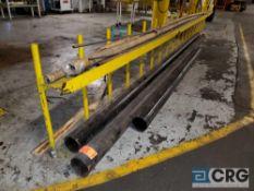 Lot of 6 in. diameter black pipe (2) 21 ft long, (1) 11 ft long