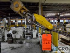 Jib crane 2 ton capacity, 17 ft. horizontal beam, 14 ft. vertical beam, with electric chain hoist
