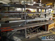 2 sided A frame steel candelabra rack, 5 ft long x 41 in. wide x 6 ft tall 4 tier metal storage rack
