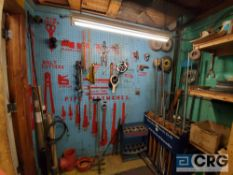 Lot of assorted parts and equipment, including (2) deheaders, threaded steel rods, harnesses,