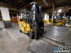 Caterpillar m/n GC40KS2 solid tire LP forklift, 7400 lb. capacity, 201 in. mast with side shift