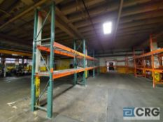 Lot of assorted pallet racking including (9) sections, (13) uprights 12 ft, high 3 X 3, (28)
