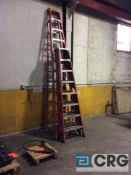 Lot of (3) assorted fiberglass step ladders, (1) 12 foot (2) 8 foot