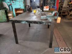 60 in. X 48 in. steel work table, 1 in. thick steel top with (2) asst bench vises