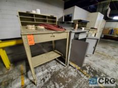 Lot of (3) foreman desks and assorted cabinets/lockers