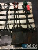 Lot of (3) assorted 3 leg chain slings with coil lifting hook, 3000, 5000, and 7000 lb capacity