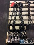 Lot of (2) assorted 3 leg chain slings with coil lifting hook, 4000 lb capacity