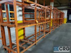 Lot of assorted shelving/racking, approx. 32 ft length of continuous racking (welded together), 8 ft