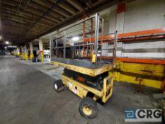 Grove scissor lift m/n SM3158E, 800 lb. cap, 54 in. X 92 in. platform (up to 128 in.), 541 hours (