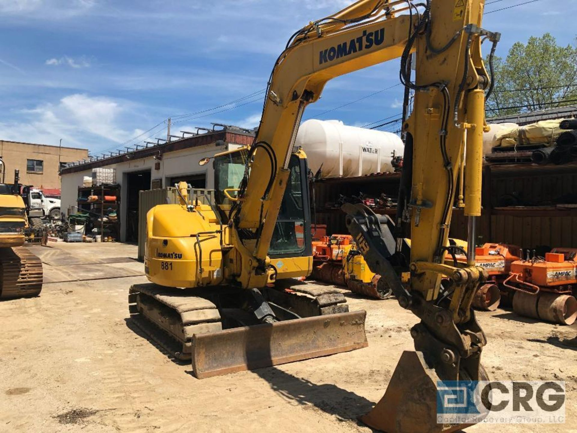 Lot 306 - 2016 Komatsu PC88MR-10 mini-excavator, 7 ft 7 in Blade, 18 in Road Liners, 11 ft. ft 2 in. Offset