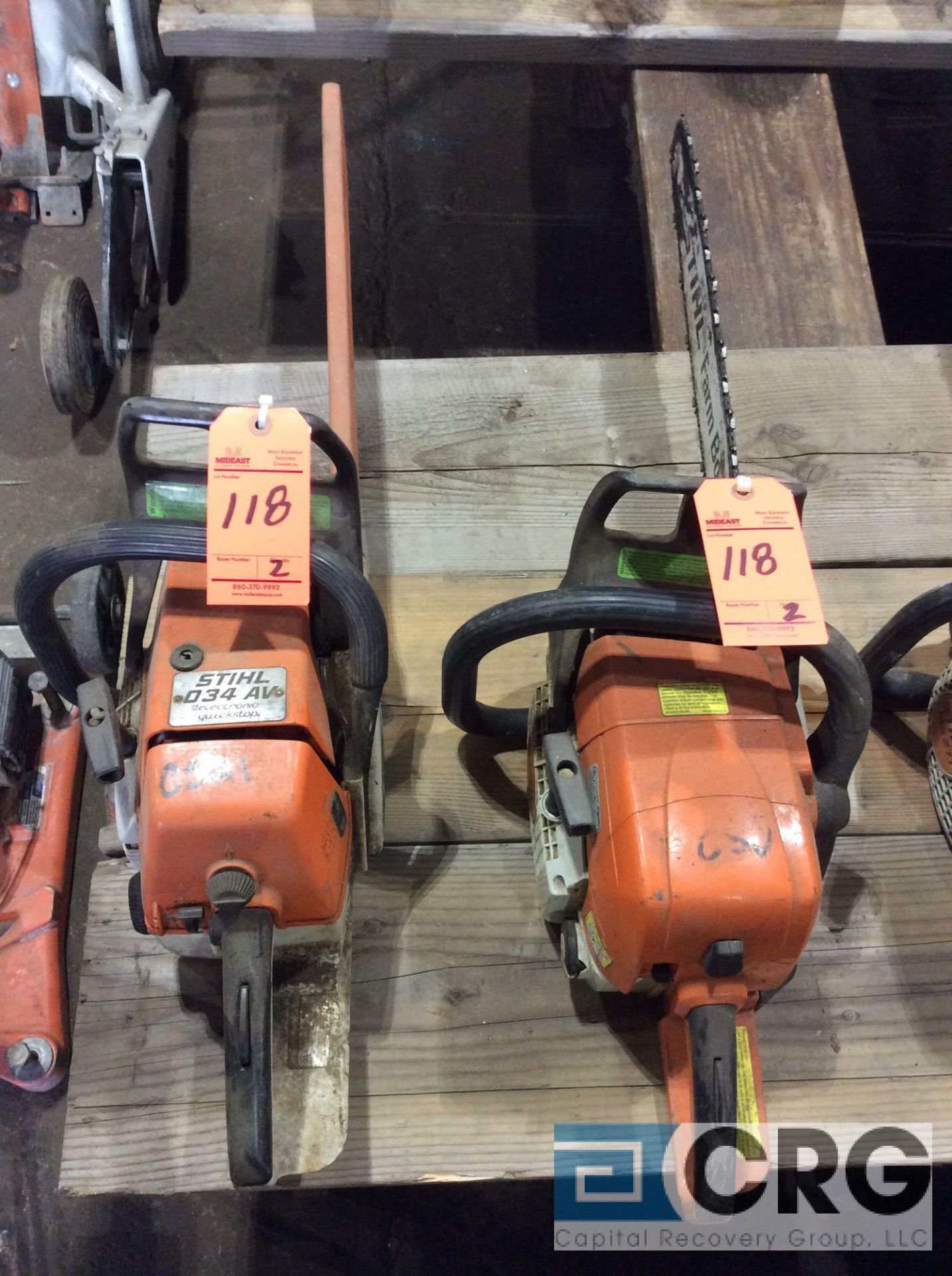 Lot 118 - Lot of (2) asst Stihl gas chain saws
