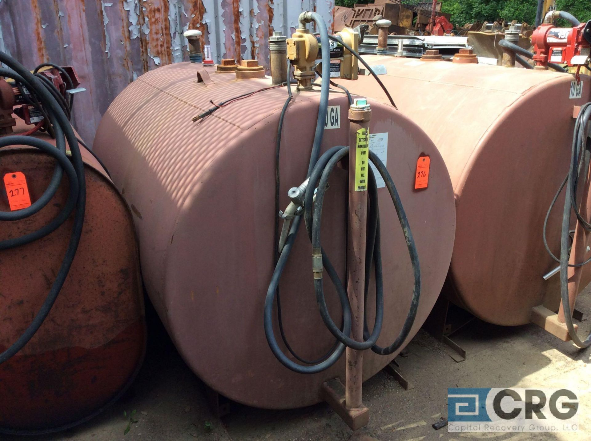 Lot 276 - double walled steel skid mounted fuel storage tank, approx 500 gal capacity with pump