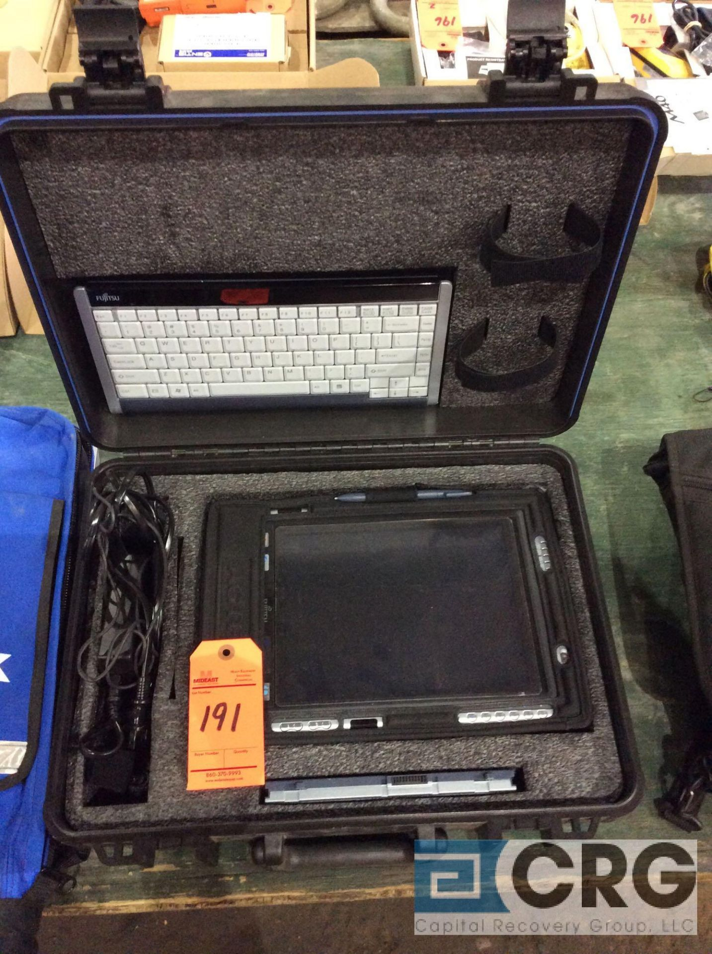 Lot 191 - Agtek portable computer system with spare Otter Box case, GPS sensor, backpack with link, and