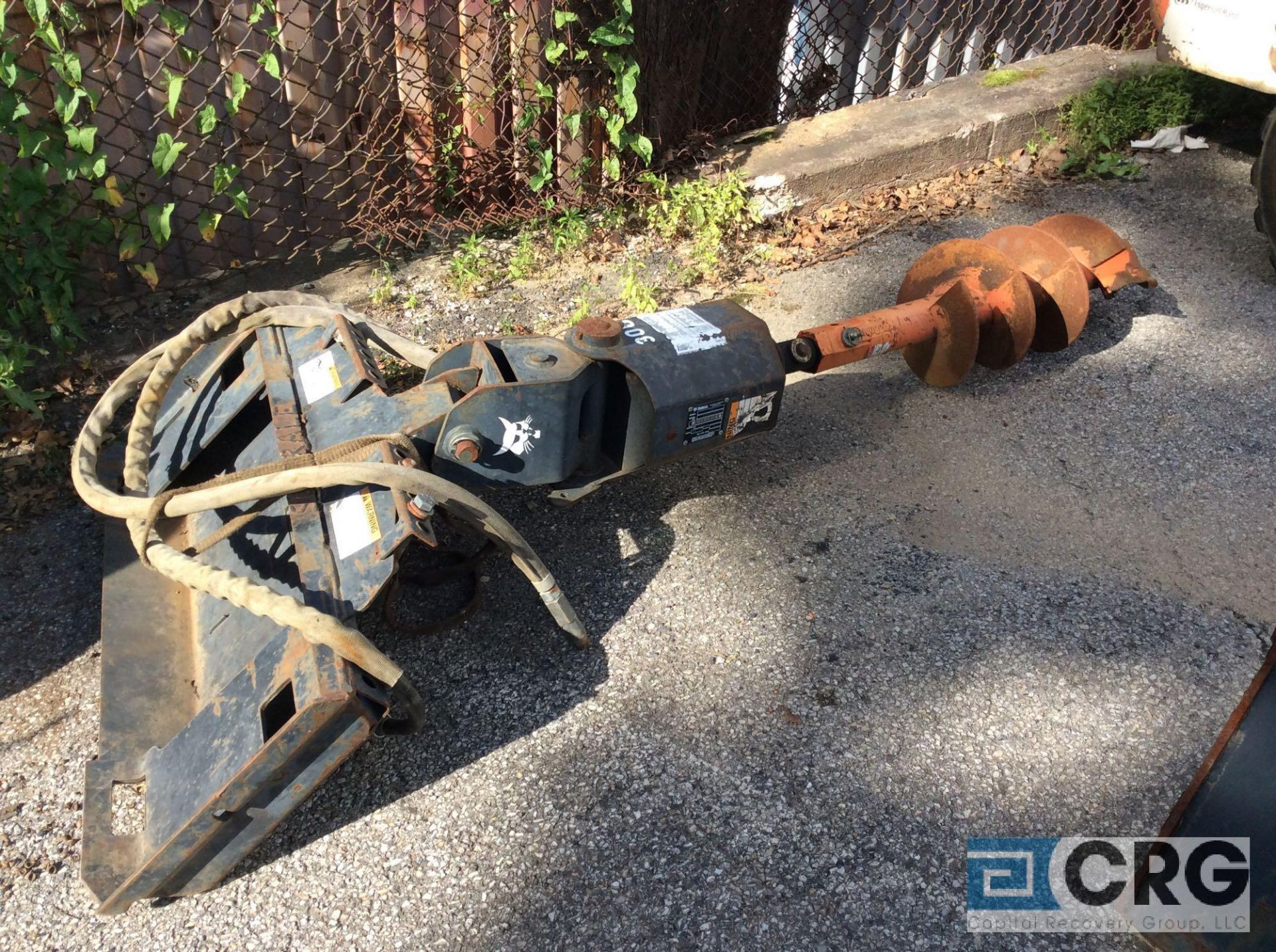 Lot 321B - Bobcat 30C auger attachment with 12 inch and 30 inch auger bits