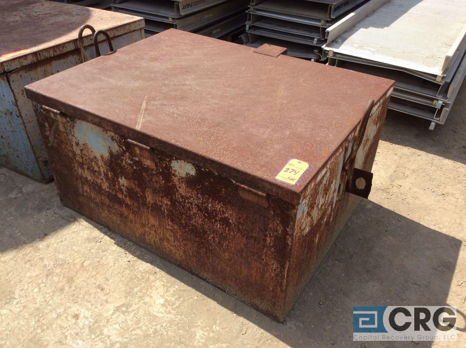 Lot 274 - Lot of (2) steel storage boxes and (1) jobsite waste oil storage tote