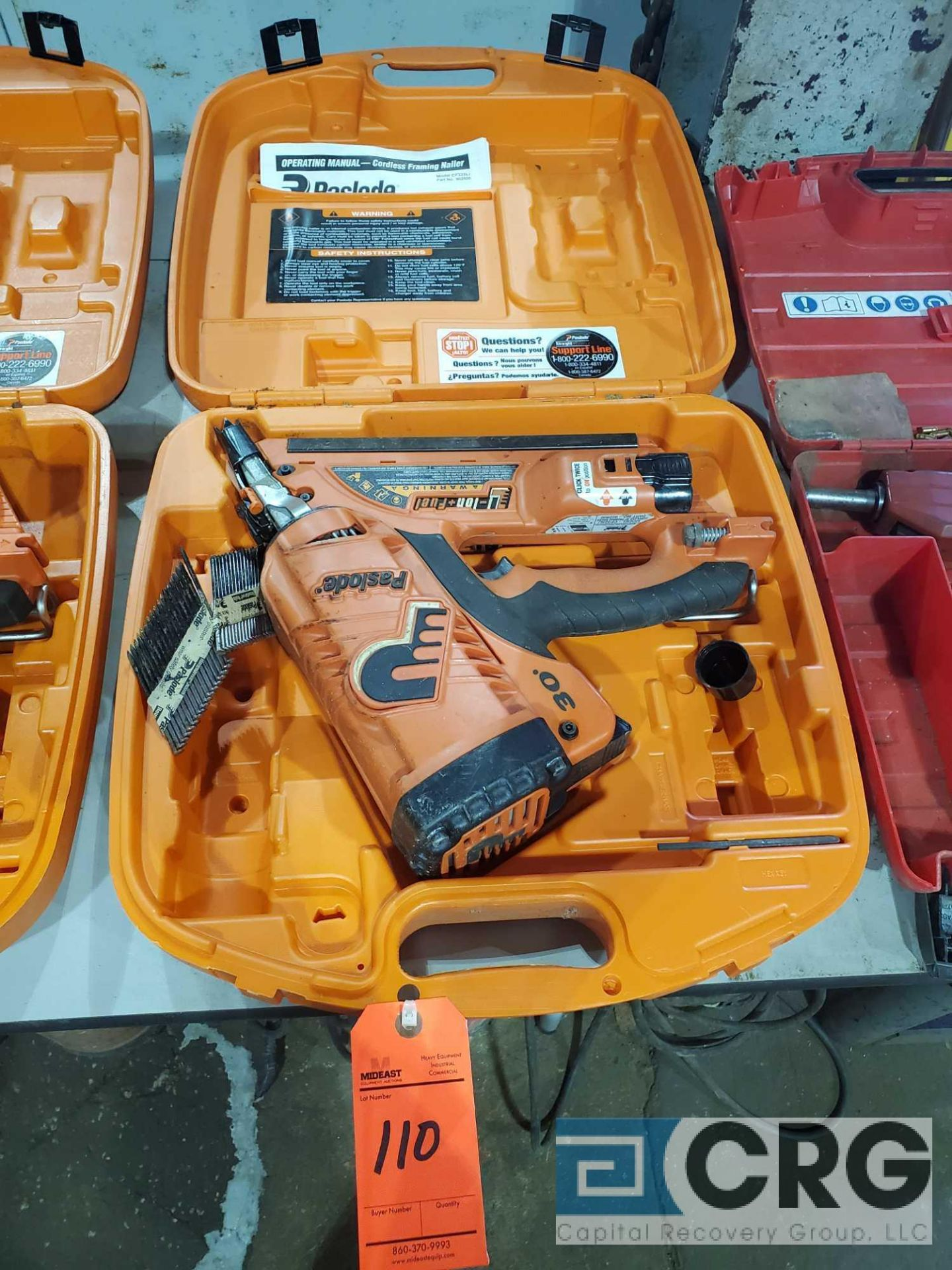Lot 110 - Paslode CF325LI cordless framing nailer with case