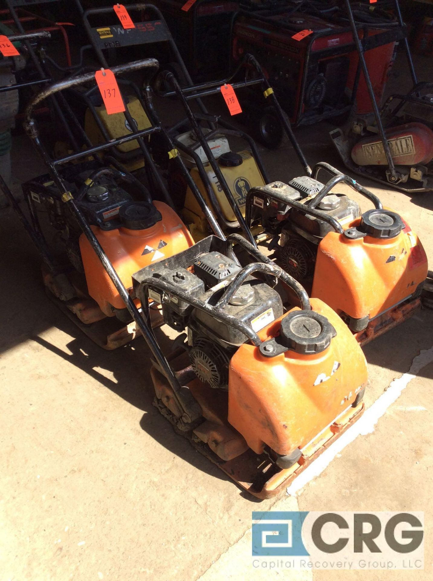 Lot 137 - MultiQuip MVC-88VTHW single direction plate compactor with water tank, Honda GX160 motor, 113 hours
