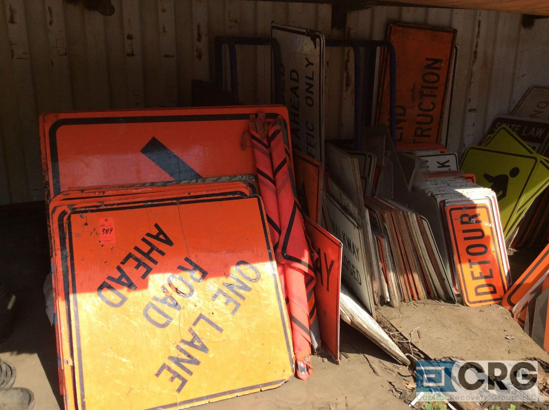 Lot 389 - Lot of asst road construction signs