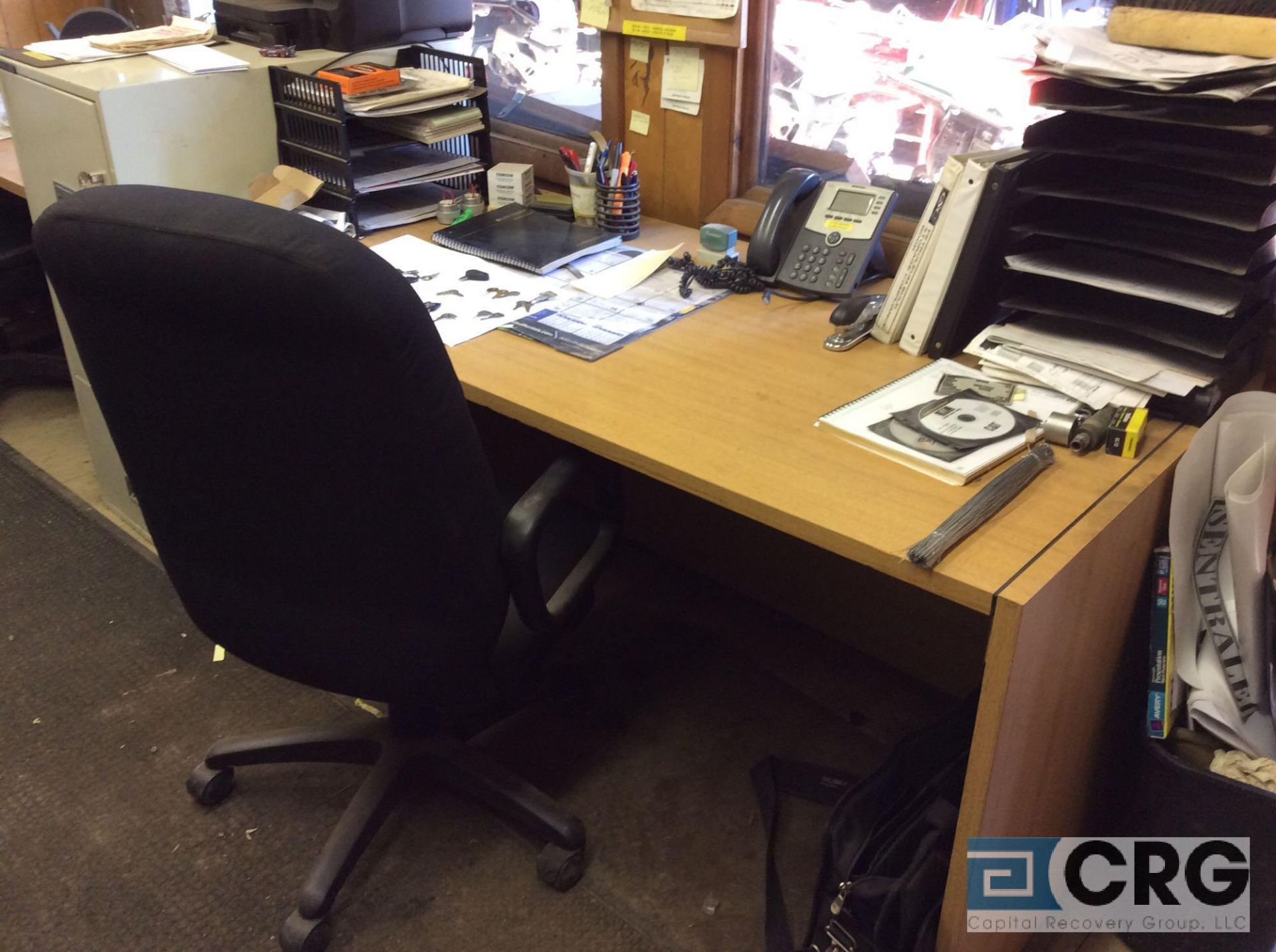 Lot 501 - Lot of office furniture including (3) desks, (3) chairs, 3-door flame proof file cabinet, (4) blue