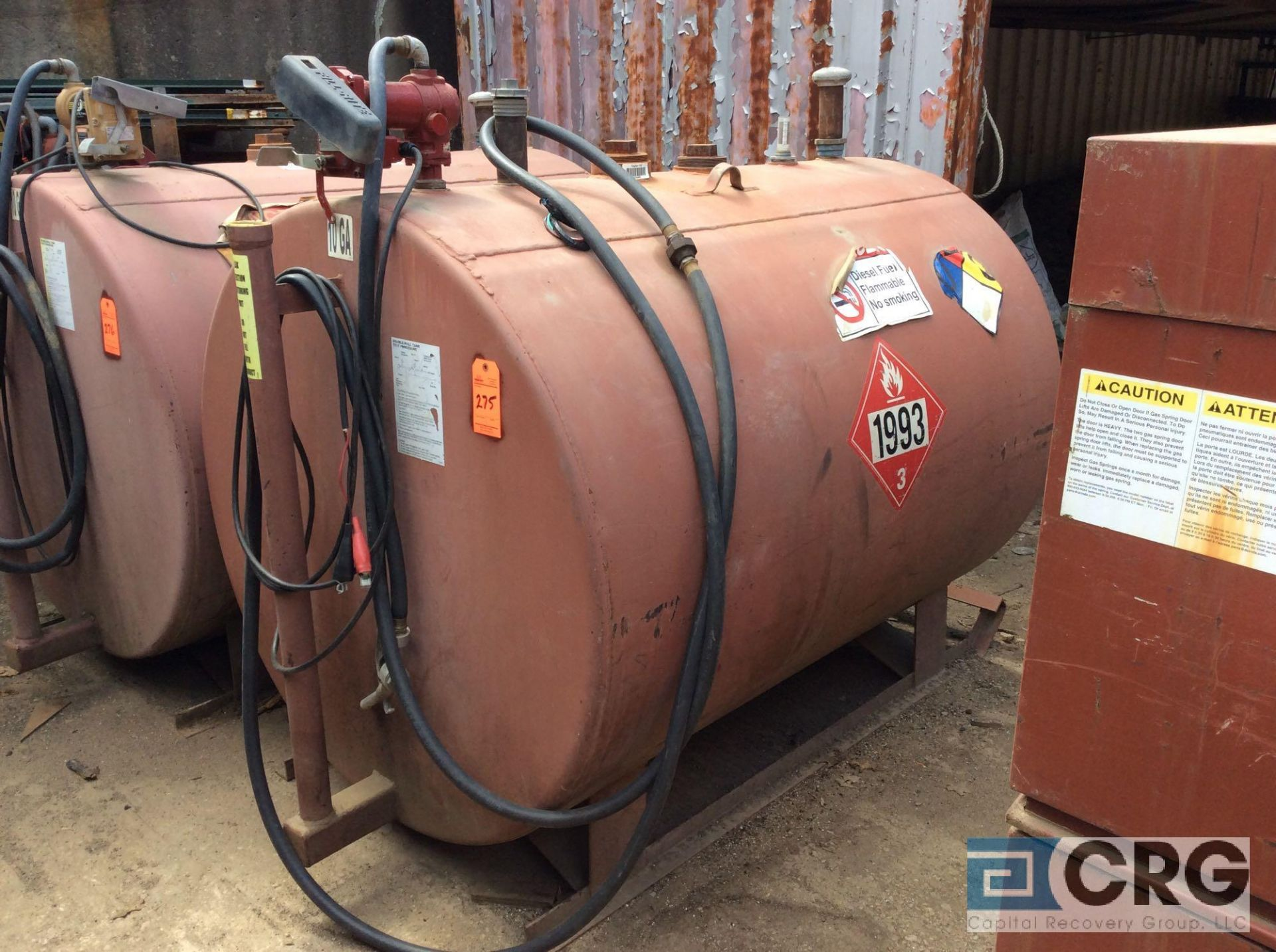 Lot 275 - double walled steel skid mounted fuel storage tank, approx 500 gal capacity with pump