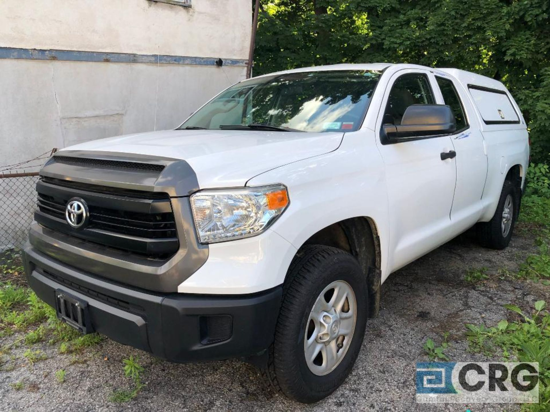 Lot 334 - 2016 Toyota Tundra 4X4 double cab pickup truck with bed cap and toolbox, 50145 miles, I-Force 4.6
