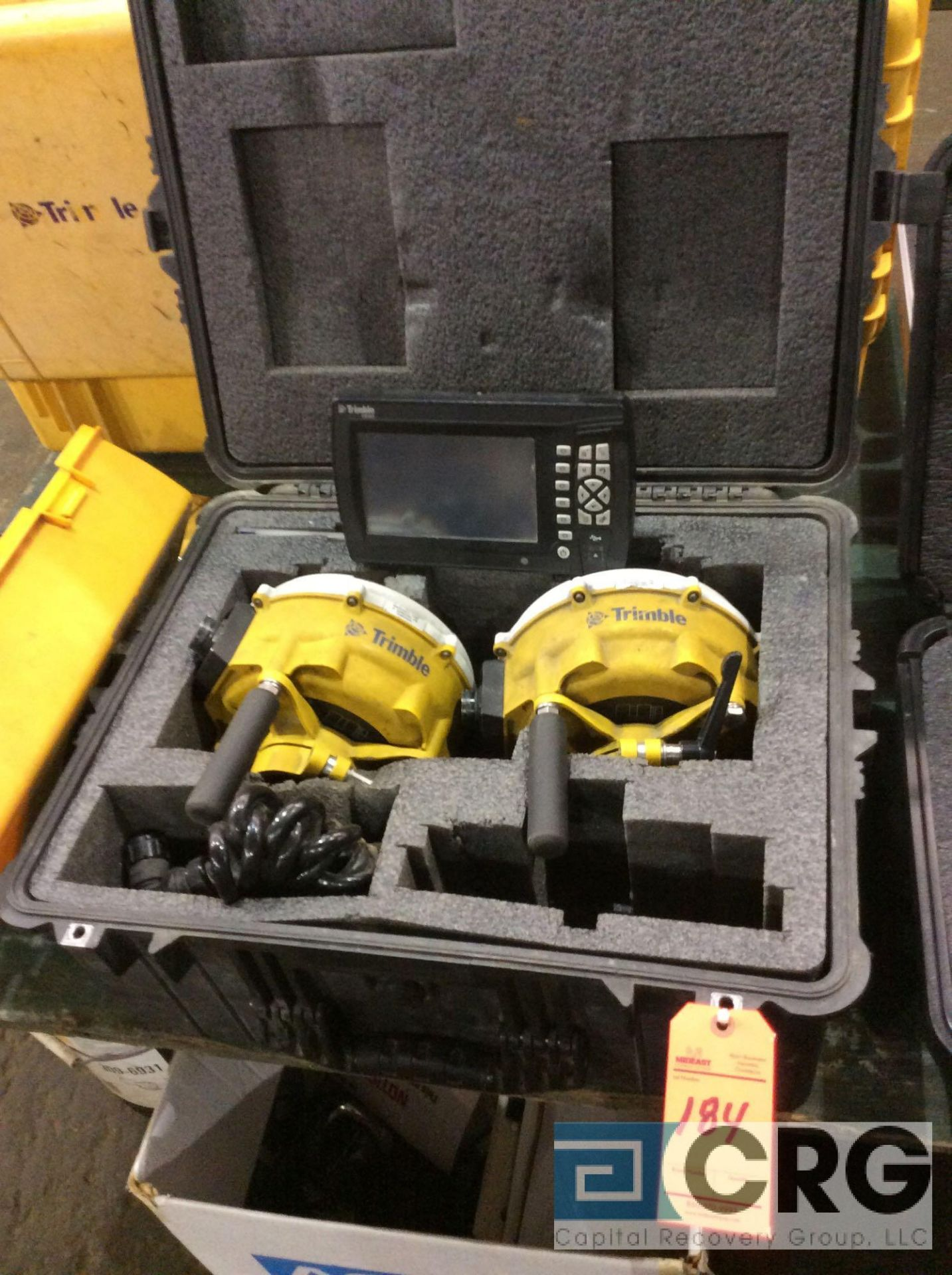 Lot 184 - Trimble GPS (2) MS992 GNSS receivers with digital display mn CB460 with case and excavator and