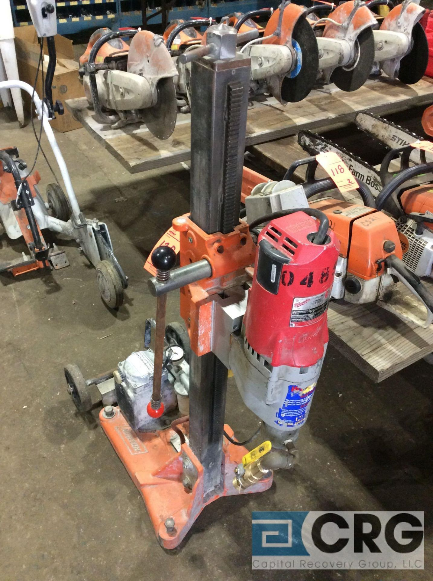 Lot 120 - Norton Clipper DR series core drill rig with vacuum pump, Milwaukee 4096 heavy duty DymoDrill