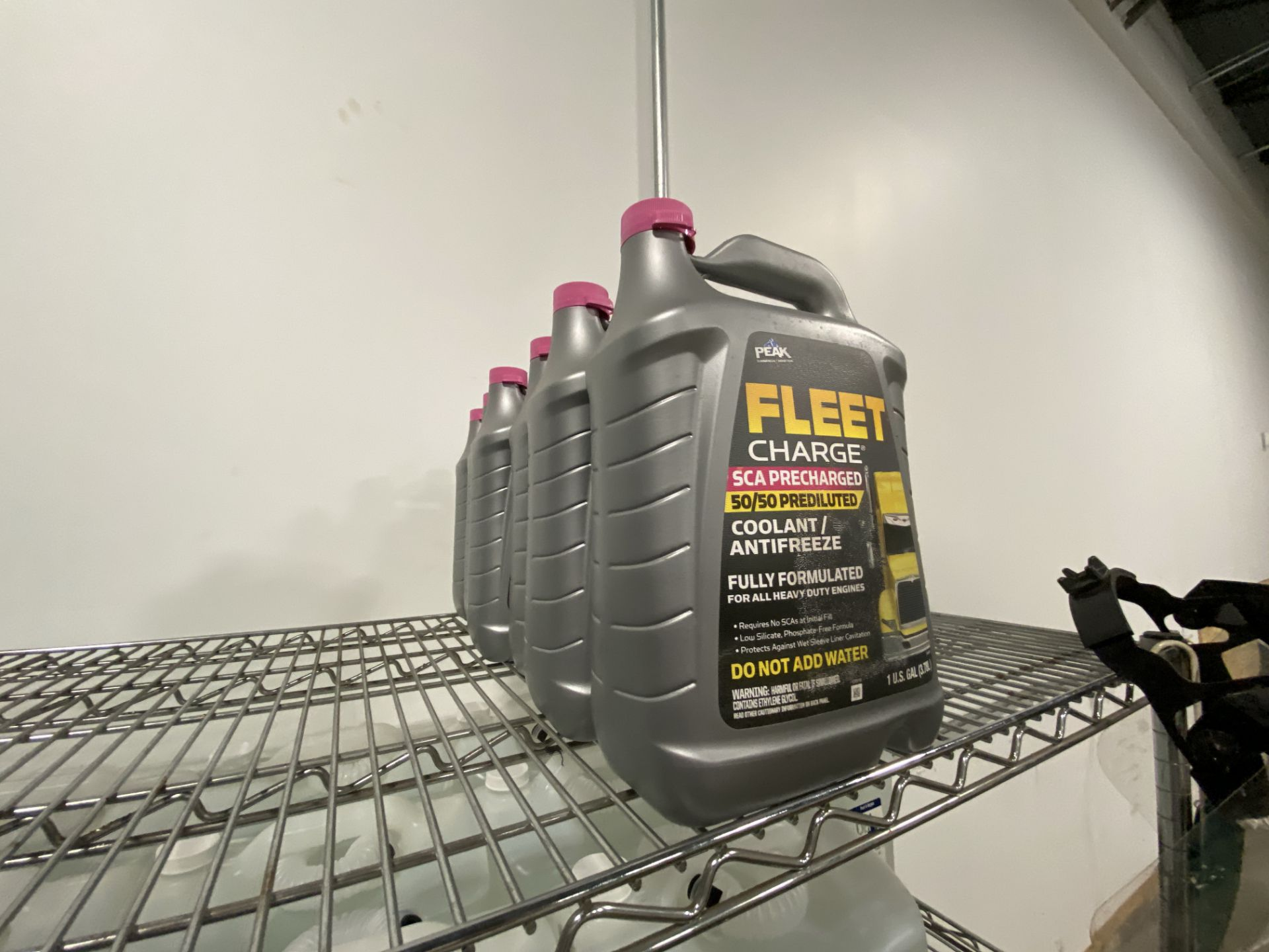"""6' X 24"""" X 4 tier Metro rack with contens including (6) gallons of commercial truck antifreeze, (33) - Image 2 of 5"""