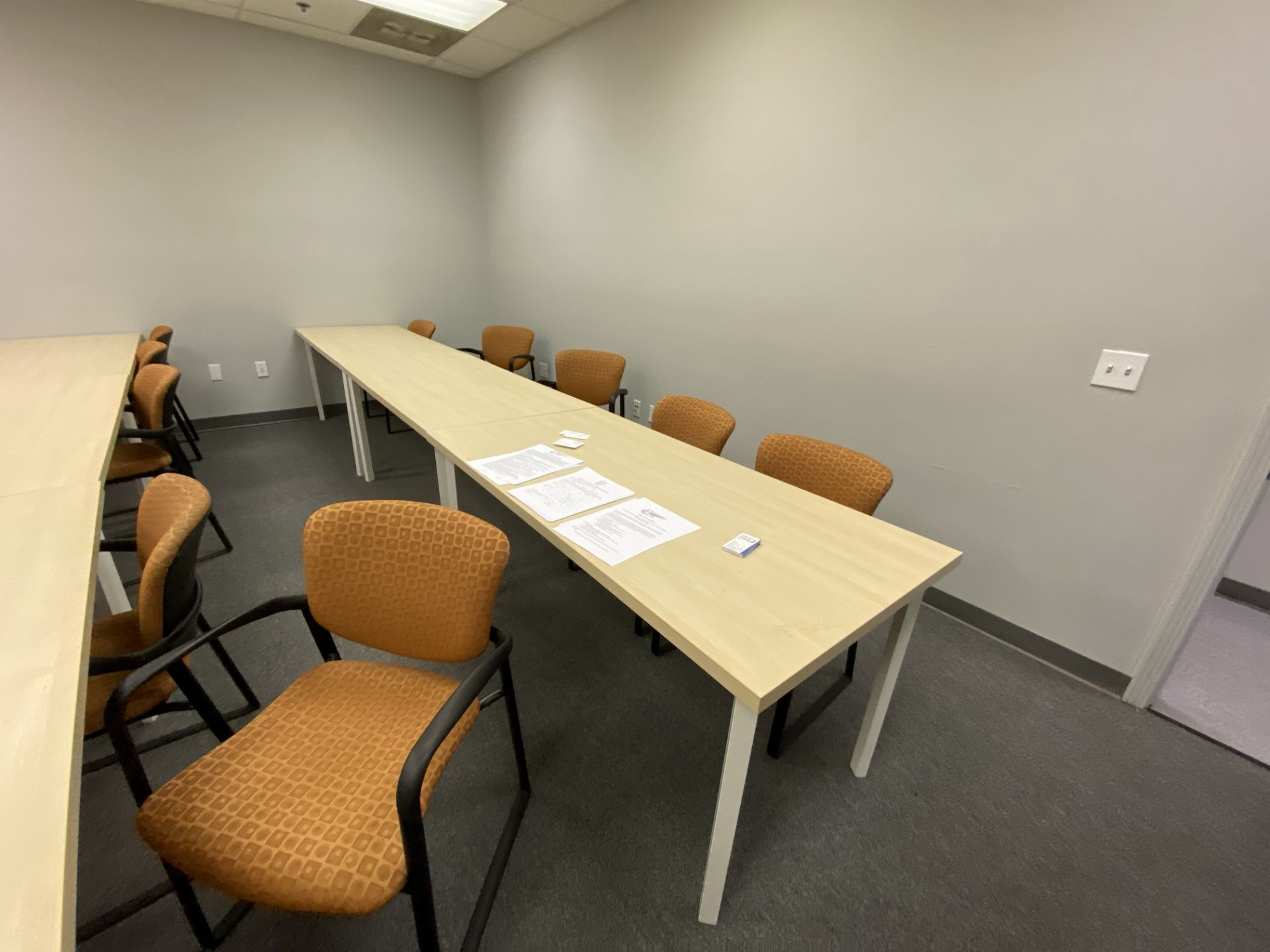 """Training room furniture consisting of (10) Hayworth 24"""" X 60"""" white oak laminate top tables, (20) - Image 3 of 3"""