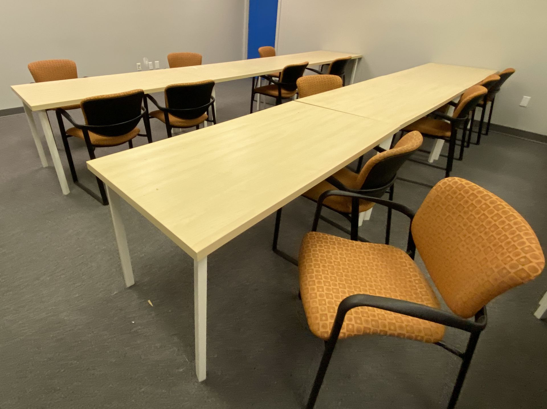 """Training room furniture consisting of (10) Hayworth 24"""" X 60"""" white oak laminate top tables, (20) - Image 2 of 3"""
