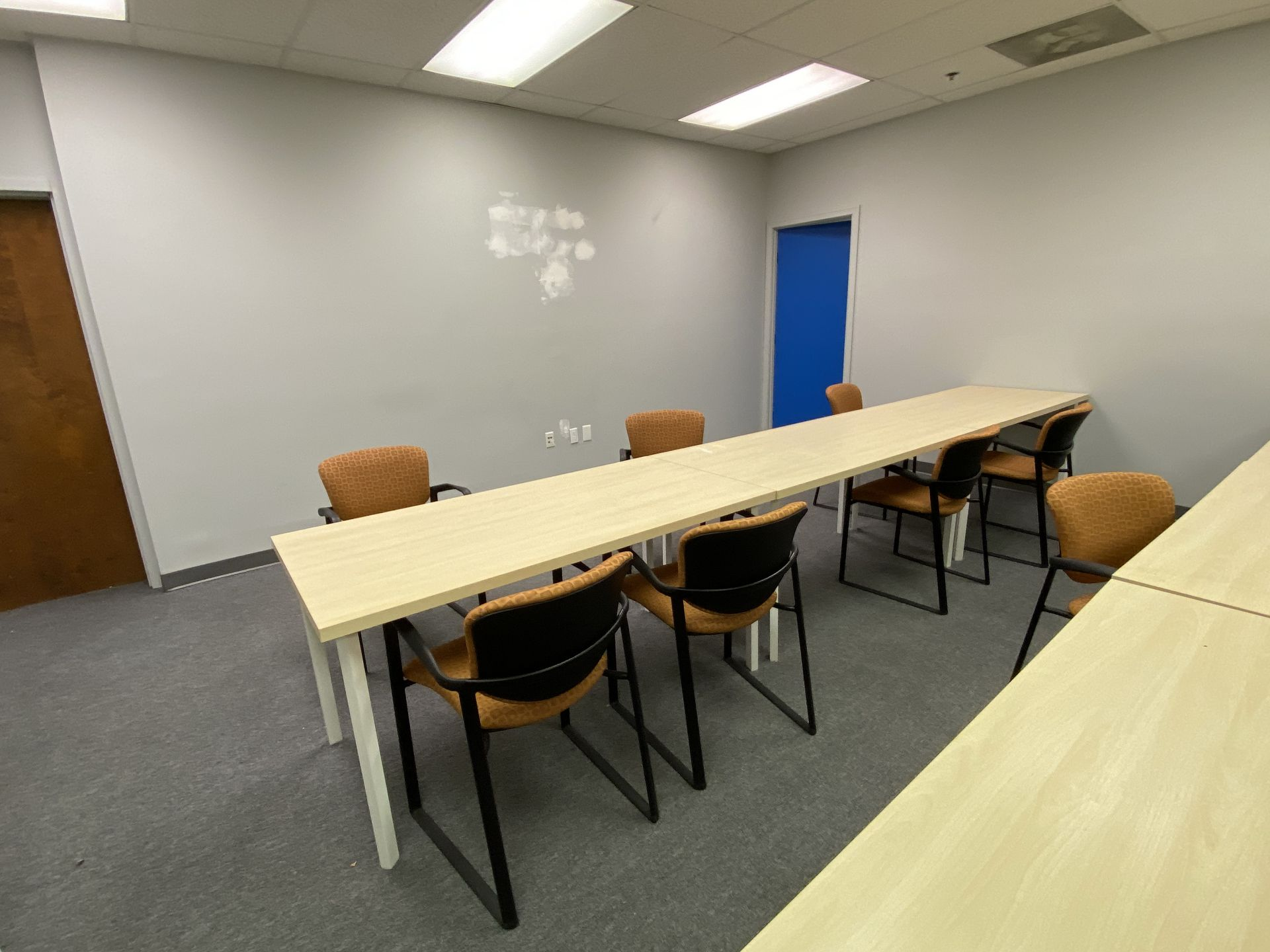 """Training room furniture consisting of (10) Hayworth 24"""" X 60"""" white oak laminate top tables, (20)"""