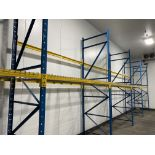 """Lot of structural steel pallet racking including (12) 42"""" X 18' uprights, (20) bolt in 96"""" cross"""