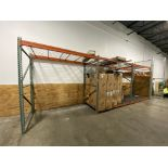"""Lot of (3) Interlake 48"""" (d) X 96"""" long (2) tier clip style pallet racking with wire decks and"""
