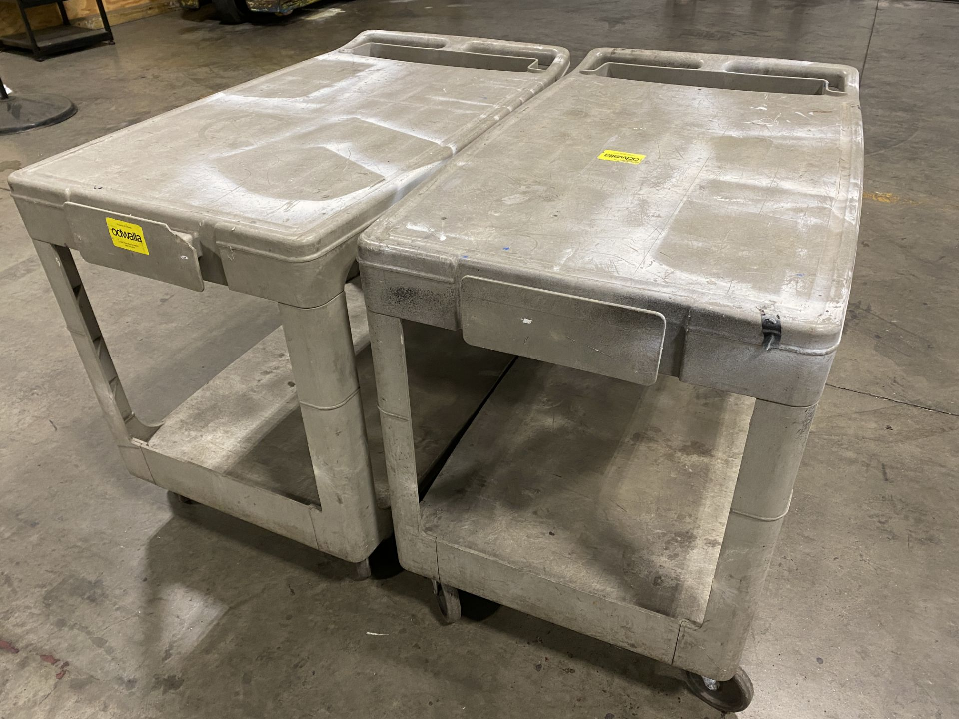 """Lot of (2) Rubbermaid hard plastic rolling two-tier carts, 36"""" X 24"""" - Image 2 of 2"""