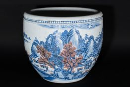Arte Cinese A pottery fish bowl painted with landscape China, 20th century .