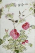 Arte Cinese A porcelian plaque painted with bird, peonies and inscriptions China, 20th century .