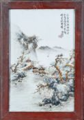 Arte Cinese A porcelain plaque painted with landscape and sealed inscription China, 20th century .