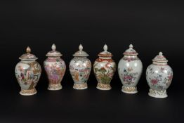 Arte Cinese A group of six small porcelain export jugs with covers China, Qing dynasty, 18th centur