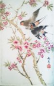 Arte Cinese A small porcelain plaque enamelled with birds on blossoming branches and inscriptionChi
