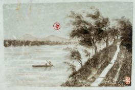 Arte Cinese A porcelain tile painted with a landscape in Jiangxi and bearing a six character red ma