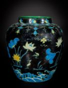 Arte Cinese A large fahua jar over blue ground China, Qing dynasty, 19th century or earlier.