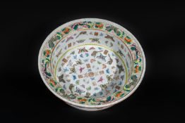 Arte Cinese A large pottery basin painted with flowers and butterflies, bearing a Tongzhi six chara