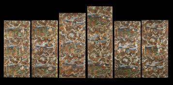 . Six panels in cuir de CordoueVenice (?), 18th century .