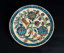 Arte Islamica A rimless pottery Iznik style dish Europe, possibly France, 19th century .