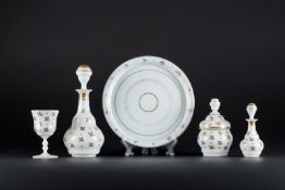 Arte Islamica A Beykoz white opaline glass night set with gilded floral decoration Turkey, 19th cen