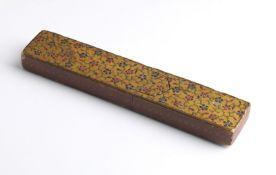 Arte Islamica A lacquered papier machè spectacle case or pen box Iran, 19th century .