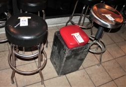 Metal Barstools w Black Vinyl Seats